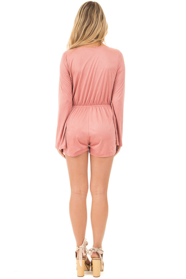 Blush Suede Romper with Deep Crossover V Neck back full body
