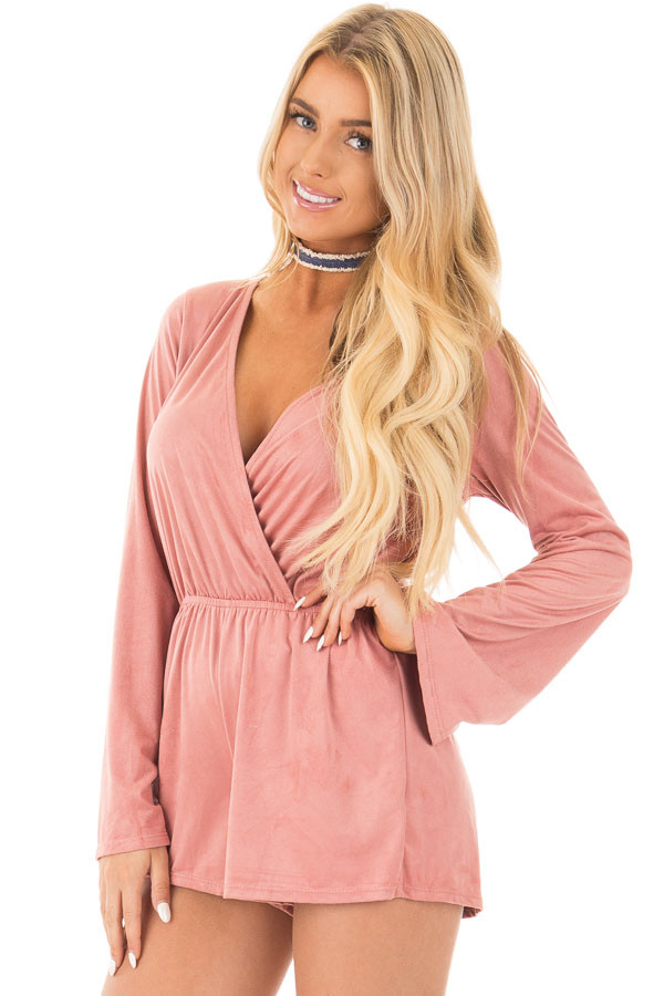 Blush Suede Romper with Deep Crossover V Neck front close up