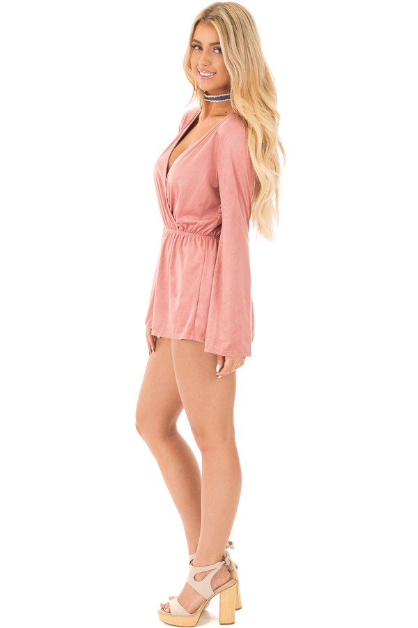 Blush Suede Romper with Deep Crossover V Neck side full body