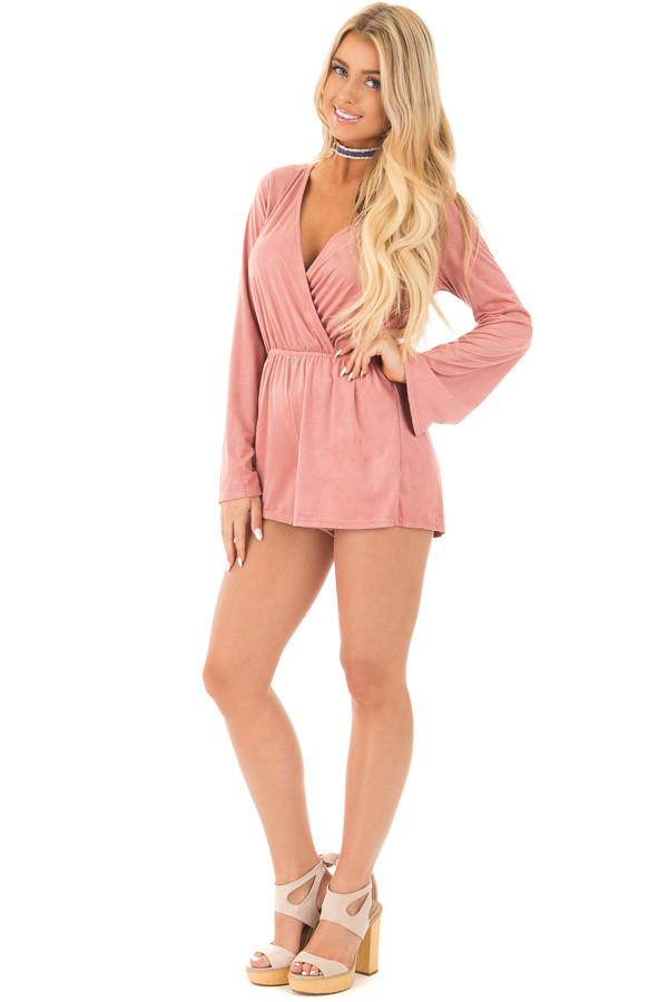 Blush Suede Romper with Deep Crossover V Neck front full body