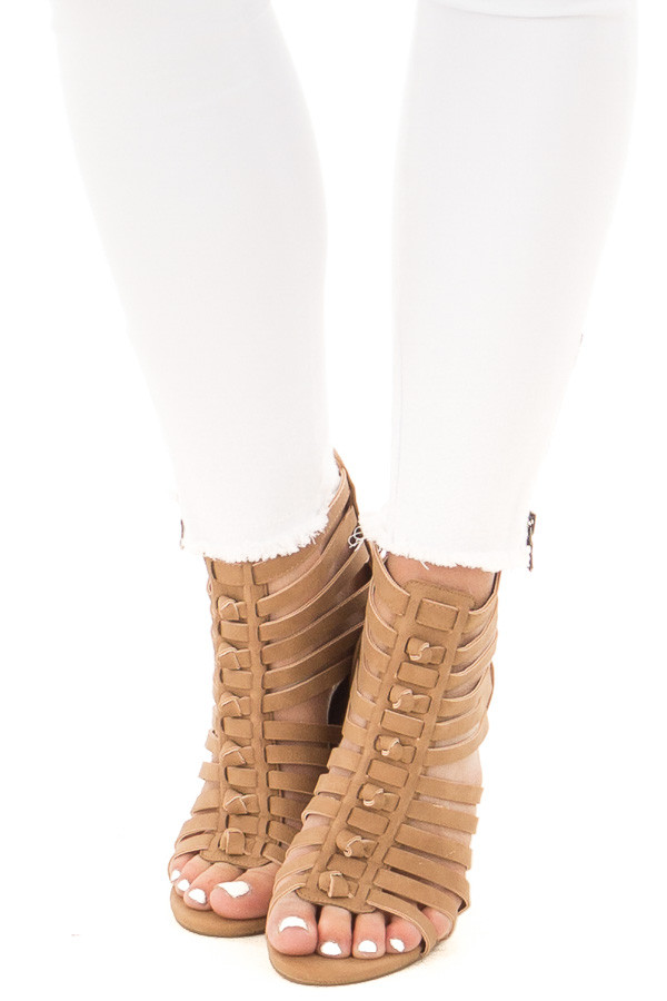 Camel Faux Leather Caged Heel Bootie with Knot Detail front view