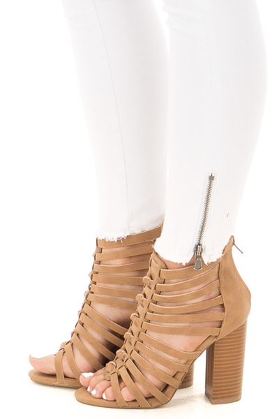 Camel Faux Leather Caged Heel Bootie with Knot Detail side view