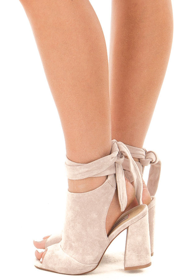 Harbor Grey Suede Open Toe Ankle Boots with Tie Up Detail side view