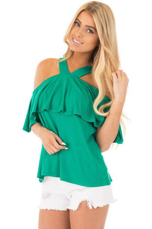 Emerald Off Shoulder Overlay Top with V Neck Halter front close up