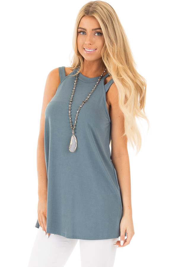 Slate Blue Strappy Halter Tunic Tank front close up