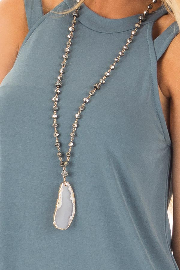 Slate Blue Strappy Halter Tunic Tank detail