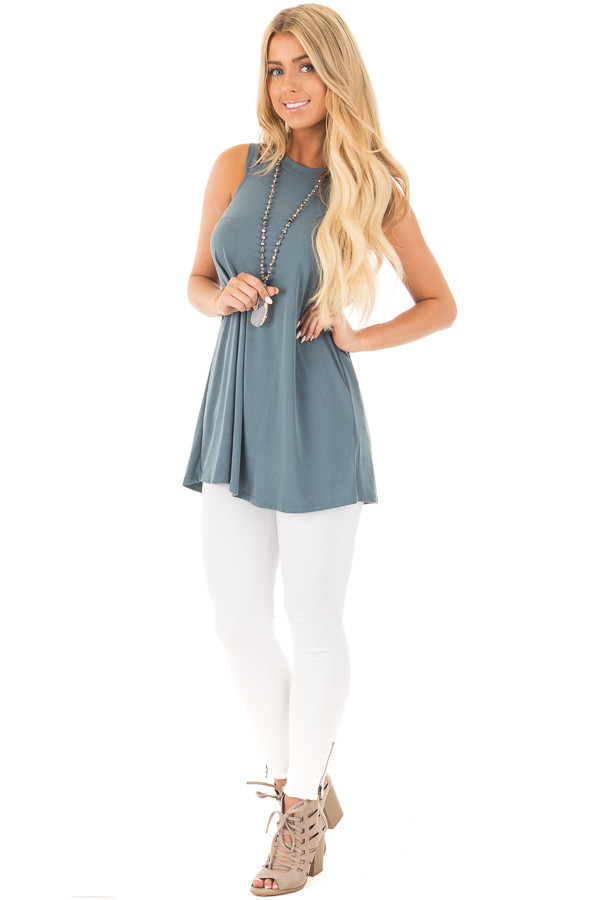 Slate Blue Strappy Halter Tunic Tank front full body
