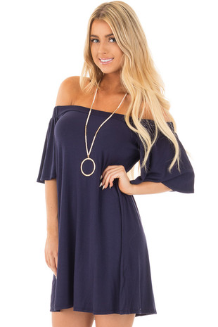 Navy Off Shoulder Swing Dress with Bell Sleeves front close up