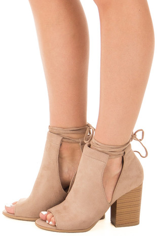 Taupe Open Toe Bootie with Side Cut Outs and Tie Detail side view
