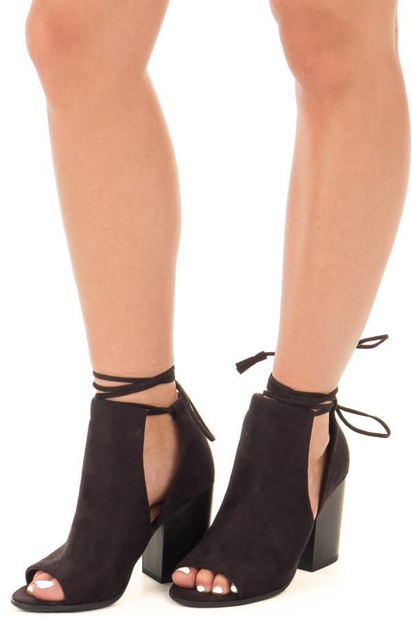Black Open Toe Bootie with Side Cut Outs and Tie Detail front view