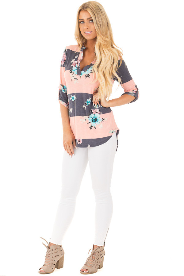 Blush and Charcoal Striped Floral Print Split Neck Tunic front full body