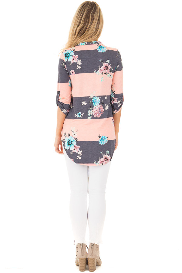 Blush and Charcoal Striped Floral Print Split Neck Tunic back full body