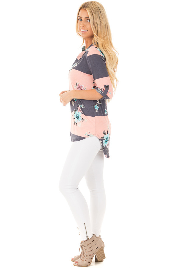 Blush and Charcoal Striped Floral Print Split Neck Tunic side full body