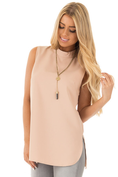 Blush Nude Mock Neck Sleeveless Top with Side Slits front close up