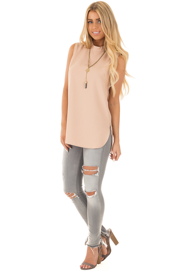 Blush Nude Mock Neck Sleeveless Top with Side Slits front full body