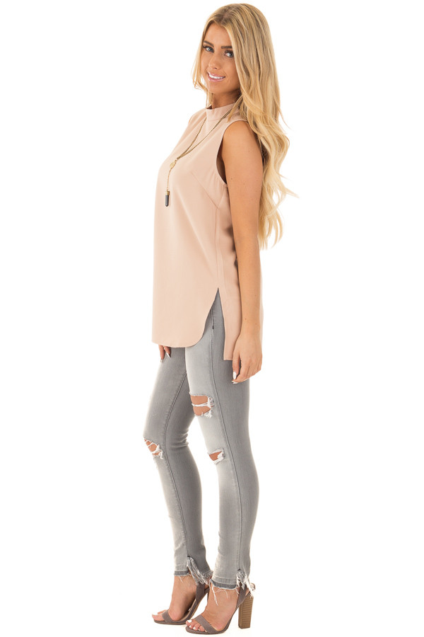 Blush Nude Mock Neck Sleeveless Top with Side Slits side full body