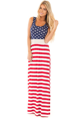 Red White and Blue Maxi with Waist Band Lace Trim front full body