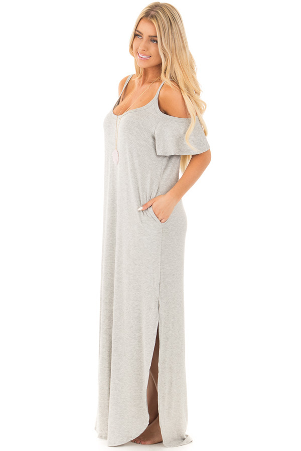 Grey Cold Shoulder Comfy Maxi Dress with Side Pockets side full body