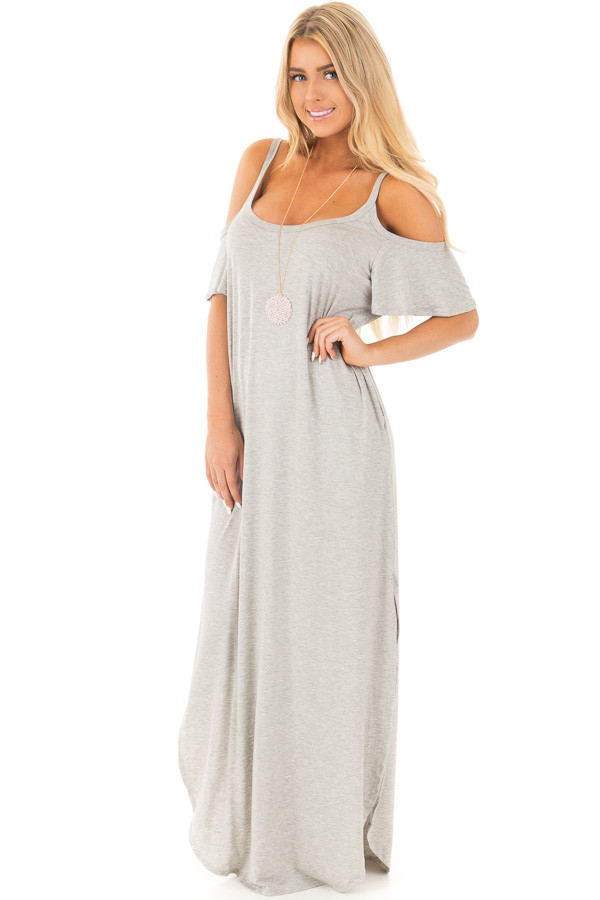 Grey Cold Shoulder Comfy Maxi Dress with Side Pockets front full body