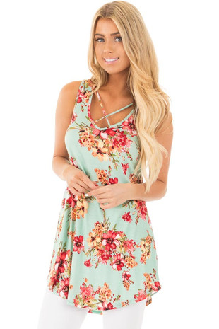 Mint Floral Sleeveless Tunic Top with V Neck Criss Cross front close up