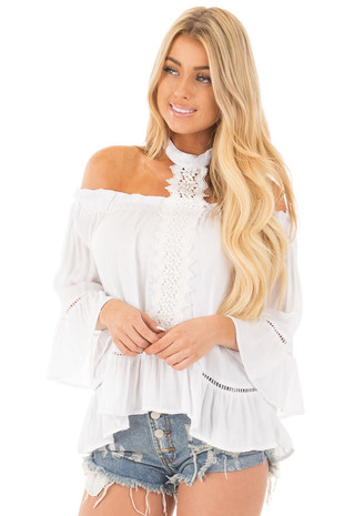 White Off Shoulder Top with Choker and Crochet Detail front close up