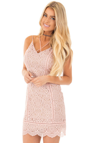 Blush Lace Tank Dress with Scalloped Hemline front close up