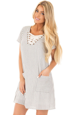 White Stripe Tunic Dress with Lace Up Neckline and Pockets front close up