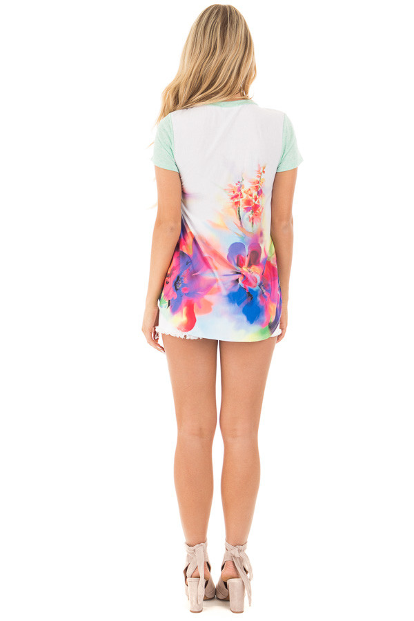 Mint Short Sleeve Watercolor Back with Front Pocket back full body