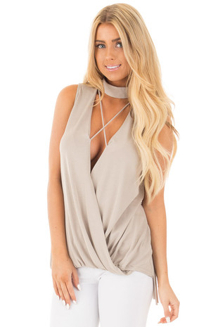 Taupe Sleeveless Mock Neck Top with V Neck Keyhole Front front close up