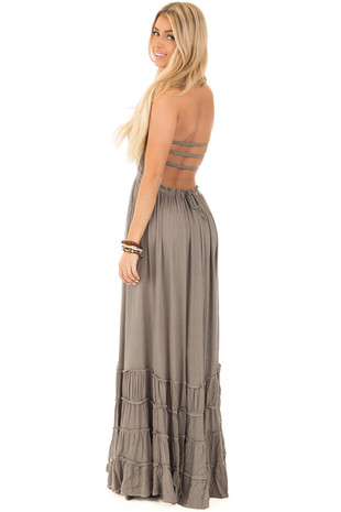 Olive Halter Maxi Dress with Stretch Top and Bell Trim back side full body