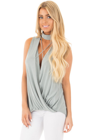 Sage Criss Cross Keyhole V Neck Tank with Crossover Hem front close up