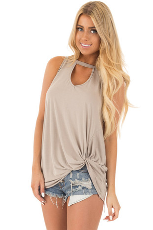 Taupe Tank Top with Twisted Front and Keyhole Neckline front close up