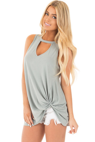Sage Sleeveless Top with Twisted Front and Keyhole Neckline front close up