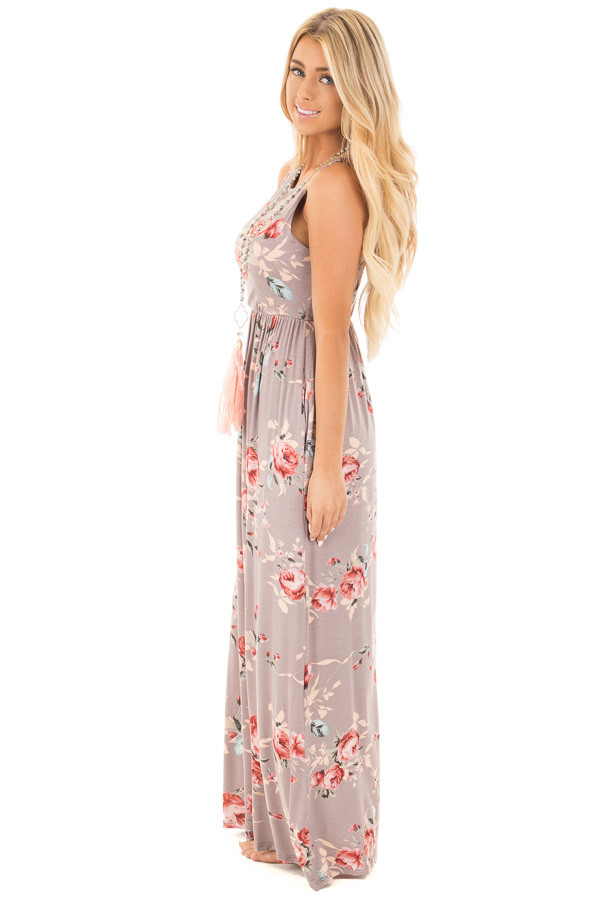 Mocha Floral Racerback Maxi Dress with Pockets side full body