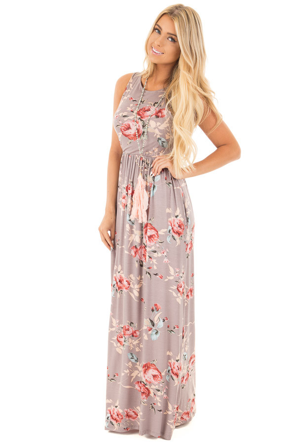 Mocha Floral Racerback Maxi Dress with Pockets front full body