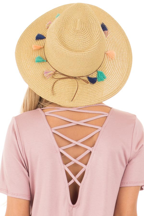 Natural Straw Hat with Leather Band and Colored Tassels back view