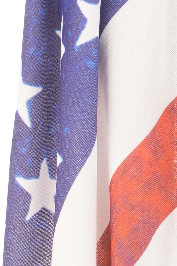 American Flag Round French Terry Beach Towel detail