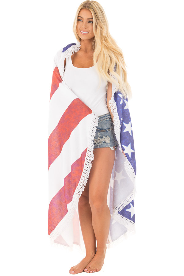 American Flag Round French Terry Beach Towel front full body