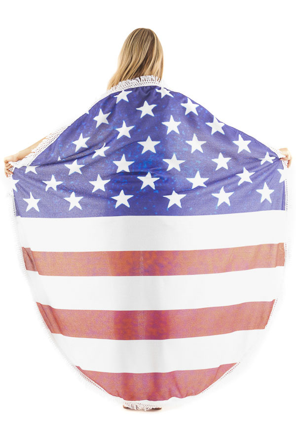 American Flag Round French Terry Beach Towel back full body