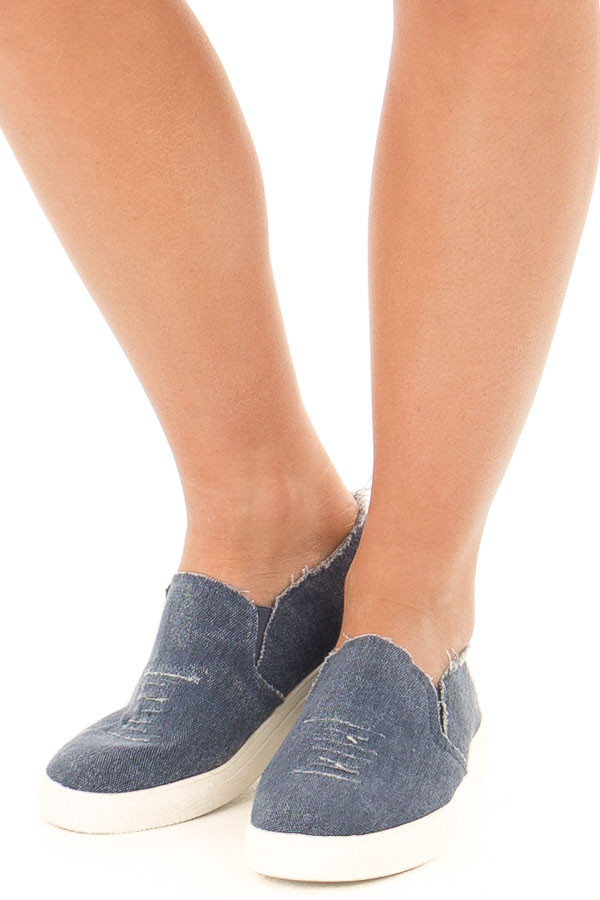 Distressed Denim Casual Slip On Sneakers front view