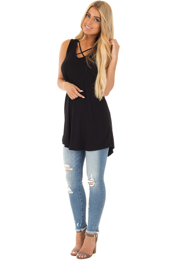 Black Tunic Tank with Crossed Strap V Neckline front full body
