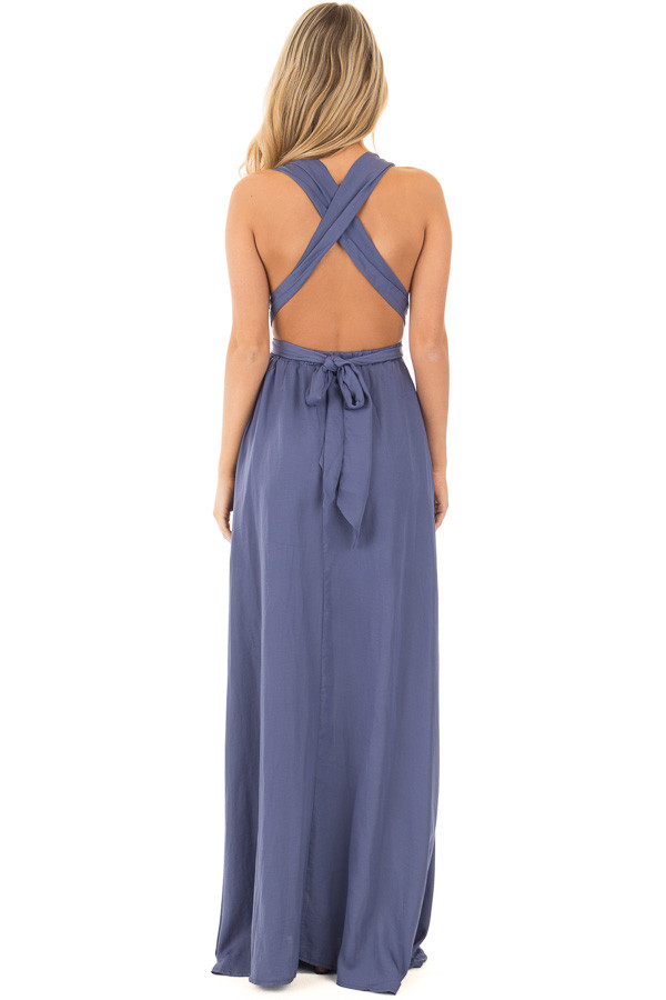 Blue Lavender Plunging V Neck Gown with Back Tie Detail back full body