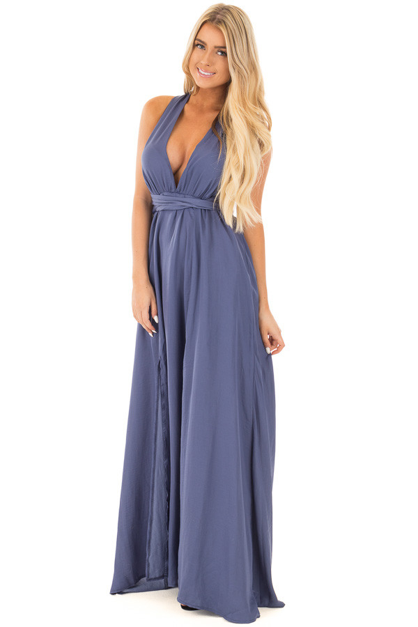 Blue Lavender Plunging V Neck Gown with Back Tie Detail front full body