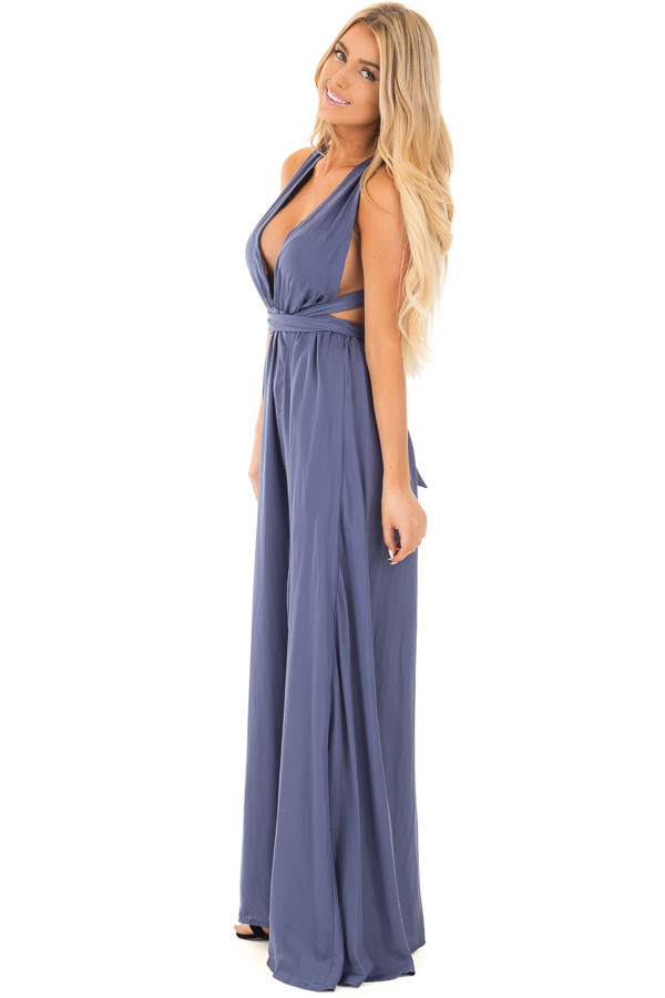 Blue Lavender Plunging V Neck Gown with Back Tie Detail side full body