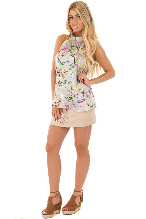 Pale Blush Floral Satin Halter Top with Keyhole Back front full body