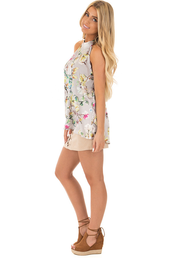 Pale Blush Floral Satin Halter Top with Keyhole Back side full body