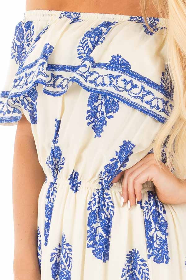 Ivory Off Shoulder Maxi Dress with Royal Blue Print detail