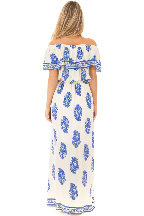 Ivory Off Shoulder Maxi Dress with Royal Blue Print back full body