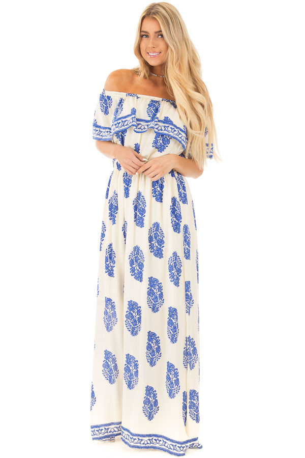 Ivory Off Shoulder Maxi Dress with Royal Blue Print front full body