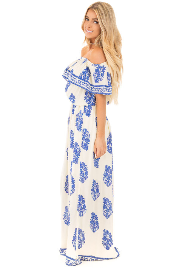 Ivory Off Shoulder Maxi Dress with Royal Blue Print side full body